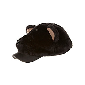 Boys black faux fur bear trucker cap