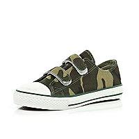 Boys khaki camouflage canvas shoes