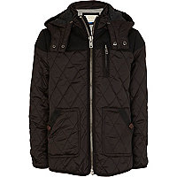 Boys black waxed yoke quilted jacket