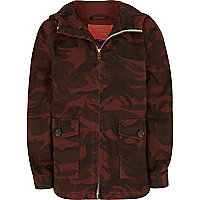 Boys dark red camouflage hooded jacket
