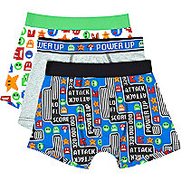 Boys blue 3 pack space invaders boxer shorts