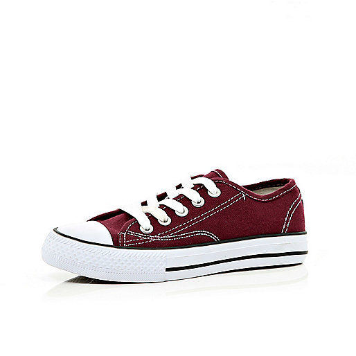 Boys dark red canvas plimsolls