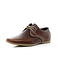 Boys brown leather lace up shoes