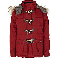 Boys red quilted duffle coat