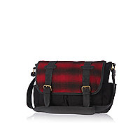 Boys red check satchel