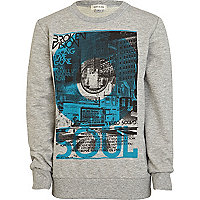 Boys grey marl broken vision print sweatshirt