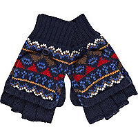 Boys blue fairisle mittens