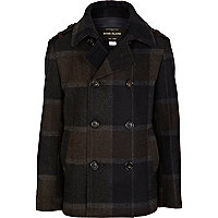 Boys black check pea coat