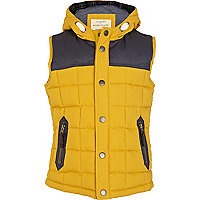 Boys yellow padded hooded gilet