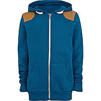 Boys teal shoulder patch hoodie