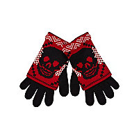 Boys red double layer skull gloves