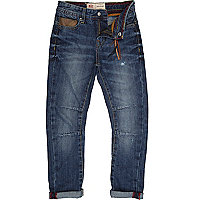 Boys blue mid wash leather trim jeans
