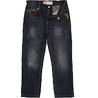 Boys dark wash distressed jeans