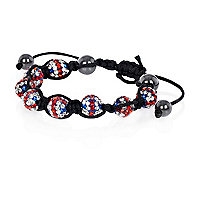Boys red union jack beaded bracelet