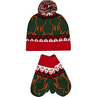 Boys green penguin bobble hat and mitten set