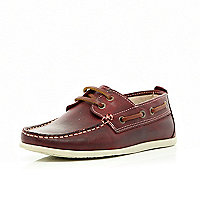 Boys red deck shoes