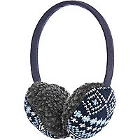 Boys blue borg aztec earmuffs