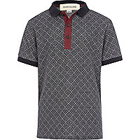 Boys navy diamond jacquard polo shirt