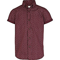 Boys dark red paisley shirt