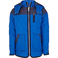 Boys bright blue waxed yoke quilted jacket