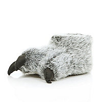 Kids grey monster feet slippers
