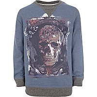 Boys blue marl skull sweatshirt