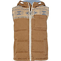 Boys brown aztec yoke gilet
