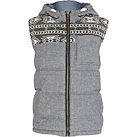 Boys grey aztec shoulder gilet