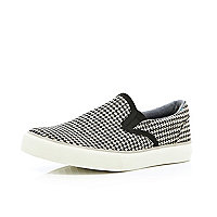 Boys black dogstooth slip-on plimsolls