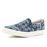 Boys navy aztec slip on plimsolls