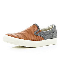 Boys brown plaited slip-on plimsolls