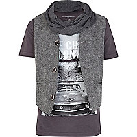 Boys grey t-shirt and herringbone waistcoat
