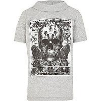 Boys grey creations skull cowl neck t-shirt