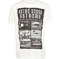 Boys white retro sound print t-shirt