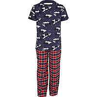 Boys navy snow pyjama top and bottoms set
