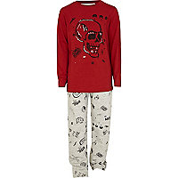 Boys red skull pyjama top and bottoms set