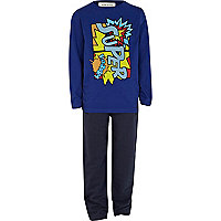 Boys blue super pyjama top and bottoms set