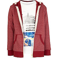 Boys red grindle hoodie and t-shirt set