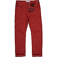 Boys red roll up chinos