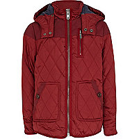 Boys red waxed yoke quilted jacket