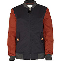 Boys navy varsity jacket