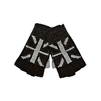 Boys black union jack fingerless gloves