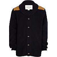Boys navy shoulder patch cardigan