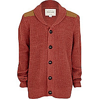 Boys red shoulder patch cardigan