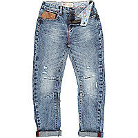 Boys blue light wash distressed jeans