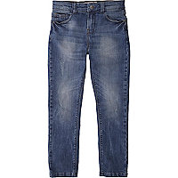 Boys blue mid wash distressed skinny jeans