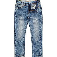 Boys blue distressed acid wash jeans