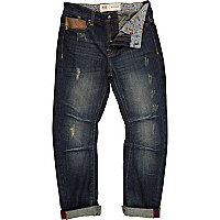 Boys blue mid wash denim distressed jeans