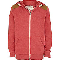 Boys red marl shoulder patch hoodie