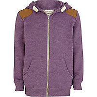 Boys purple marl shoulder patch hoodie